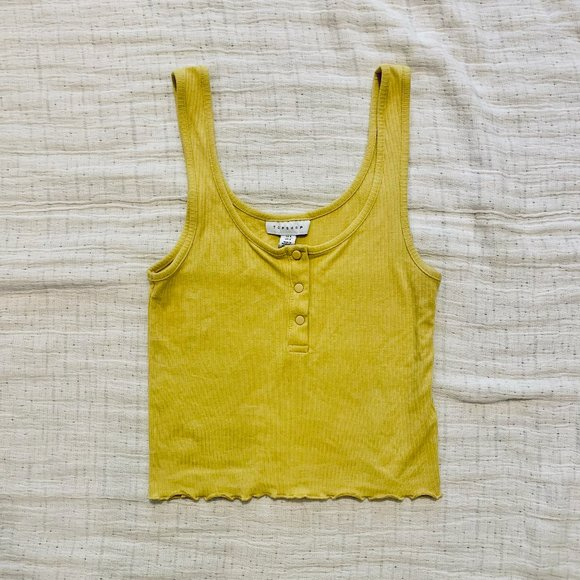 Topshop Ribbed Crop Tank with Lettuce Trim   4